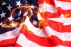 De inschrijving van achtergrond van de vonken 2017 de Amerikaanse vlag, Stock Afbeelding