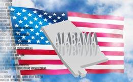 De inschrijving van Alabama op Amerikaanse vlagachtergrond stock fotografie