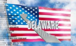 De inschrijving van Delaware op Amerikaanse vlagachtergrond stock afbeeldingen