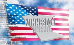 De inschrijving van Minnesota op Amerikaanse vlagachtergrond royalty-vrije stock foto