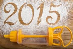 de inschrijving van 2015 op de houten achtergrond Royalty-vrije Stock Foto's