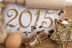 de inschrijving van 2015 op de houten achtergrond Royalty-vrije Stock Afbeeldingen