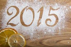 de inschrijving van 2015 op de houten achtergrond Stock Afbeeldingen
