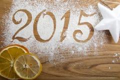 de inschrijving van 2015 op de houten achtergrond Royalty-vrije Stock Foto