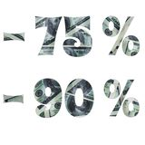 De inschrijving van de rente in de verkoop met het binnen beeld van dollars stock afbeelding