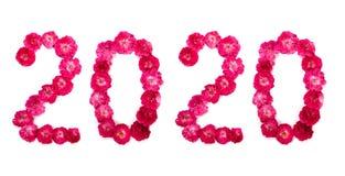 De inschrijving 2020 van verse roze en rood nam bloemen toe stock foto