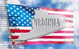 De inschrijving van Virginia op Amerikaanse vlagachtergrond stock fotografie