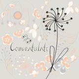 De inschrijving wenst met bloemen geluk Royalty-vrije Stock Foto's