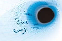 De de inschrijvings 'wetenschap in een gebogen notitieboekje wordt geregeld stock illustratie