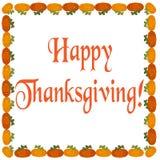 De inschrijvings Gelukkige Dankzegging op een witte achtergrond Stock Foto's