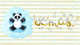 De inschrijvings gouden Panda van Kerstmis ligt de Met de hand geschreven elegante moderne borstels in de engelen van de sneeuw s vector illustratie