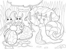 De insecten leren wiskunde het kleuren voor de vectorillustratie van het kinderenbeeldverhaal Royalty-vrije Stock Afbeeldingen