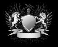 De Insignes van het Schild van de leeuw en van het Paard Royalty-vrije Stock Afbeeldingen
