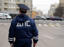 De inspecteur van de diensten van de verkeerspolitie in het centrum van Moskou Royalty-vrije Stock Afbeelding