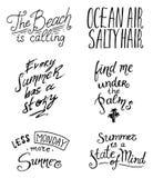 De inspiratie, de reis en de reisuitdrukkingen van de zomercitaten, kalligrafie vectorillustratie Hand het getrokken van letters  vector illustratie