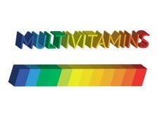 De inspiratie van het Multivitaminetiket, de geïsoleerde vitaminen van het pictogramconcept, Stock Foto's