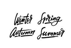 De inspiratiecitaten van de seizoenenlevensstijl het van letters voorzien Het met de hand geschreven element van het kalligrafie  Stock Foto