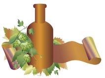 De installatie, de fles en het lint van de hop Royalty-vrije Stock Foto's