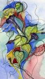 De Installatie en de Bloemen van de Glorie van de Ochtend van de illustratie. stock illustratie