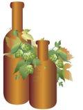 De installatie en de fles van de hop Stock Afbeelding