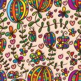 De installatie naadloos patroon van de vlinder natuurlijk bloem Royalty-vrije Stock Foto