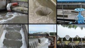 De Installatie van de Behandeling van het Water van het afval Blauwe plugkraanklep Klemmencollage stock footage