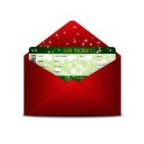 De instapkaartkaartje van de Kerstmisluchtvaartlijn in rode envelop stock illustratie