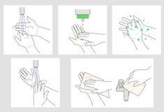 De instructie van washanden Stock Afbeeldingen