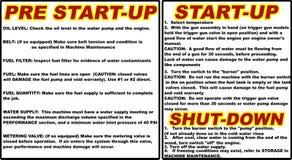 De instructies sloot het pre van de start drukwasmachine opstarten vectorillustratie Royalty-vrije Stock Foto