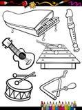 De instrumenten die van de beeldverhaalmuziek pagina kleuren Royalty-vrije Stock Afbeeldingen