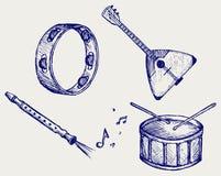 De instrumenten van de muziek. De stijl van de krabbel royalty-vrije illustratie