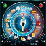 De interactieve grafische informatie van het gewichtsverlies Regime van dag met nuttige en schadelijke producten Stock Afbeelding