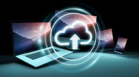 De interface van het wolkenpictogram over het moderne technologie-apparaten 3D teruggeven Stock Afbeeldingen
