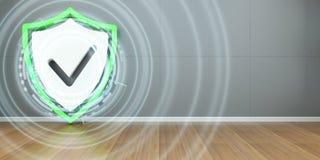 De interface van de schildbescherming activeerde binnenshuis het 3D teruggeven Stock Afbeeldingen