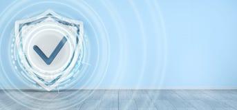 De interface van de schildbescherming activeerde binnenshuis het 3D teruggeven Stock Afbeelding