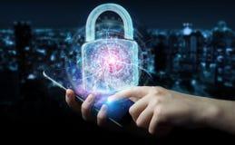 De interface van de Webveiligheid door zakenman wordt gebruikt om telefoon te beveiligen 3D die aangaande Vector Illustratie