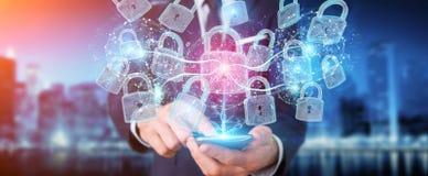 De interface van de Webveiligheid door zakenman wordt gebruikt om telefoon te beveiligen 3D die aangaande Royalty-vrije Illustratie