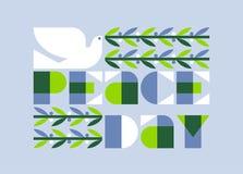 De internationale affiche van de vredesdag met de elegante olijf van de duifholding Stock Foto's