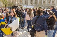 De internationale dag van de hoofdkussenstrijd stock fotografie