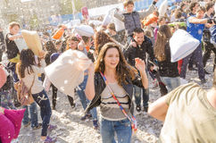 De internationale dag van de hoofdkussenstrijd stock afbeeldingen