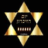 De internationale Dag van de Holocaustherinnering op 27 Januari Gouden Joodse Ster Zes brandende kaarsen voor 6 miljoen dood royalty-vrije illustratie