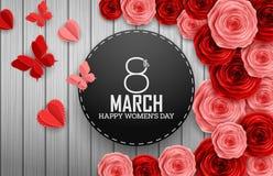De internationale Gelukkige Vrouwen` s Dag met document scherpe vlinders, rozen bloeit en zwart rond teken op houten achtergrond vector illustratie