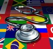 De internationale gezondheidszorg van de geneeskundestethoscoop Stock Afbeelding