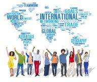De internationale Globalisering Internationaal C van het Wereld Globale Netwerk stock foto's