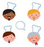 De internationale huidChef-kok kookt pictogrammen Stock Afbeeldingen