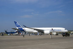De Internationale Ruimtevaartsalon van MAKS Luchtbus A350 Stock Afbeelding