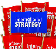 De internationale Strategiewoorden markeert Globale Beleidsdiplomatie Royalty-vrije Stock Foto's