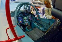 De internationale tentoonstelling van MILEX van wapens en militaire uitrusting: De cockpit van gemoderniseerde su-25 royalty-vrije stock fotografie