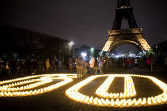 De internationale Viering van het Uur van de Aarde, Parijs, Royalty-vrije Stock Afbeelding