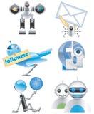 De Internet-illustratie-vector van robots pictogrammen Stock Afbeelding